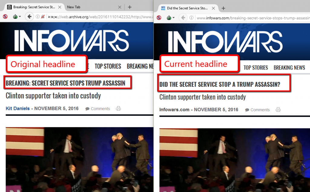 infowars fake news trump assassination
