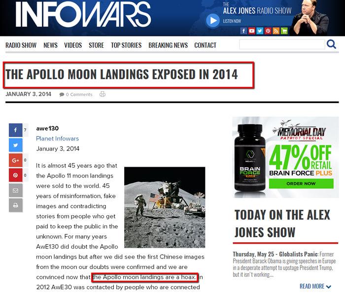 infowars moon landing fake