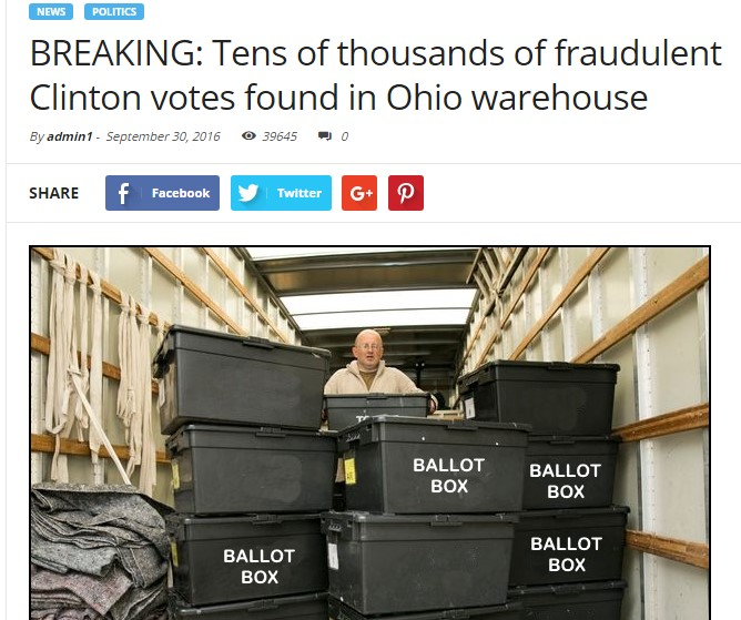 Fake News Example: Clinton Voter Fraud