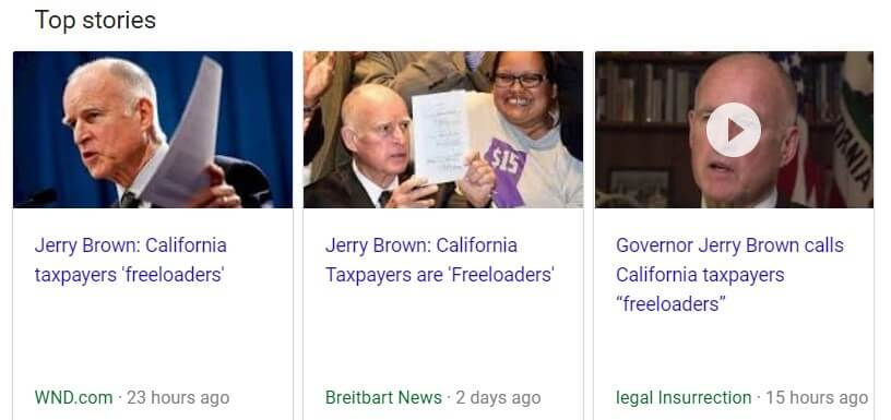 Jerry Brown did not call California taxpayers freeloaders